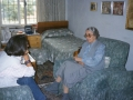 Interviewing Enver Hoxha's widow, Nexhmije, at her apartment, Tirana, 1998