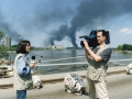 Reporting along with cameraman Kostas Deldimos from Novi Sad during the war against Yugoslavia,1999