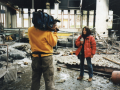 Reporting along with cameraman Manolis Dimelas from the bombed Zastava factory in Pristina,1999