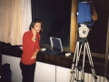 Live reporting via satellite phone from Grad Hotel, during the war in Kosovo, 1999