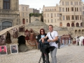 Reporting from Baku along with cameraman John Manousos, Azerbaijan, 2003